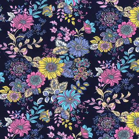 Zinnia blue floral 100% Cotton Fabric, sold per Half Metre, 112cm wide
