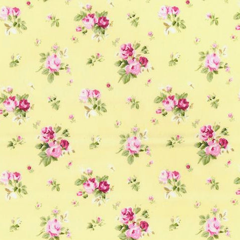 Chintzy lemon floral 100% Cotton Fabric, sold per half metre, 112cm wide