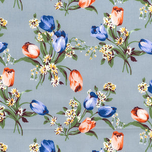 Silver Pretty Tulips  floral  100% cotton poplin fabric, sold per 1/2 metre, 112cm wide