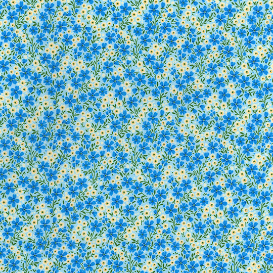 Mayflower blue & yellow, mini floral, 100% Cotton Poplin Fabric sold per half metre