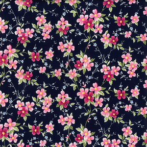 Navy & pink blossom floral fabric, 100% cotton poplin fabric sold per half metre, 112cm wide