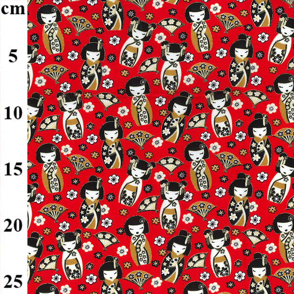 Red Oriental Geisha Girl design 100% Cotton poplin Fabric sold per Half Metre 112cm wide