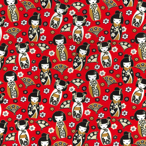 Red Oriental Geisher Girl design 100% Cotton poplin Fabric sold per Half Metre 112cm wide