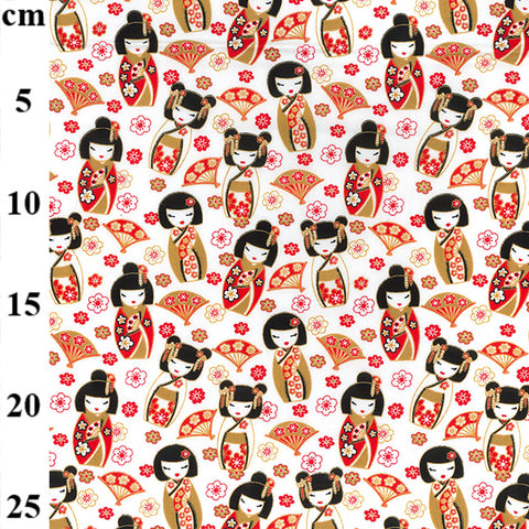 White Oriental Geisher Girl design 100% Cotton poplin Fabric sold per Half Metre 112cm wide
