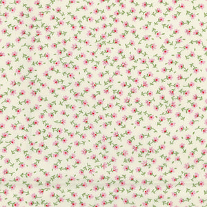 Teeny tiny floral ivory & pink 100% cotton poplin fabric, sold per 1/2 metre, 112cm wide
