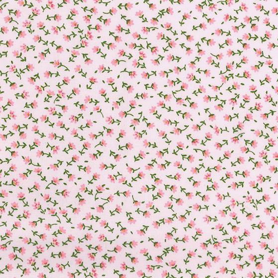 Rose & Hubble Teeny tiny floral Rose pink 100% cotton poplin fabric, sold per 1/2 metre, 112cm wide