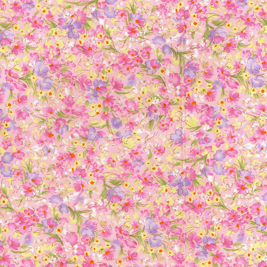Summer Dreams pink floral 100% Cotton poplin Fabric, sold per Half Metre, 112cm wide