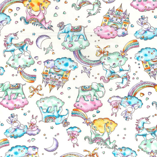 fairy tales & rainbows ivory coloured 100% Cotton Poplin Fabric 112cm wide per 1/2 metre
