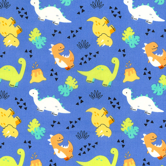 Children's blue dinosaur design 100% cotton poplin fabric, sold per 1/2 metre