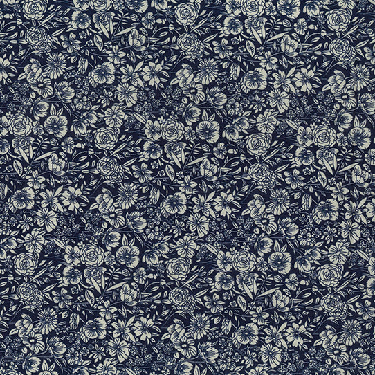 Tonal floral Navy blue colour 100% cotton poplin fabric sold per half metre, Rose & Hubble