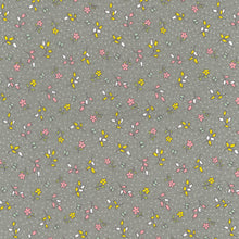 Dolly pretty grey floral 100% cotton poplin fabric, sold per 1/2 metre