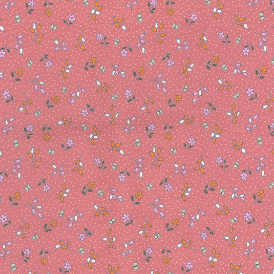 Dolly pretty rose colour floral 100% cotton poplin fabric, sold per 1/2 metre