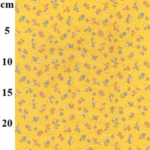 Dolly pretty yellow colour floral 100% cotton poplin fabric, sold per 1/2 metre