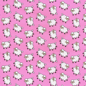 Woolly Sheep pink 100% Cotton poplin Fabric sold per Half Metre 112cm wide