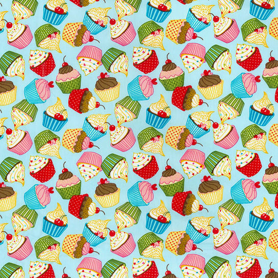 Pale blue Yummy cupcakes 100% cotton poplin fabric, sold per 1/2 metre