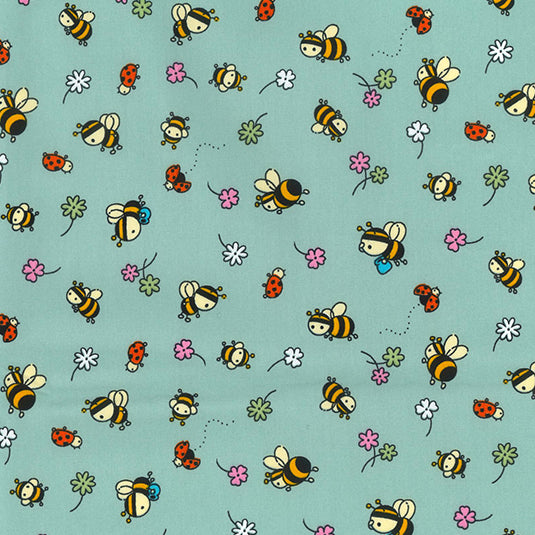 Green Bees & lady birds 100% cotton poplin fabric, sold per 1/2 metre, 112cm wide
