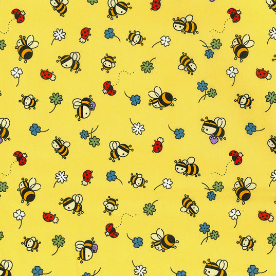Yellow Bees & lady birds 100% cotton poplin fabric, sold per 1/2 metre, 112cm wide