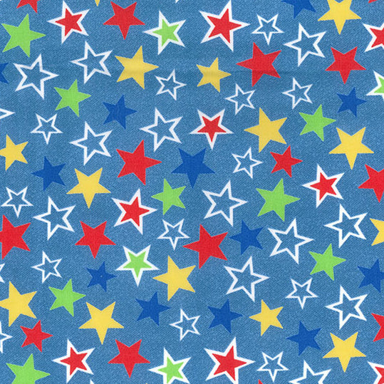 Jazzy stars Chambray blue colour fabric , 100% cotton poplin sold per half metre, 112cm wide