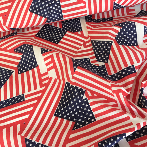 Stars & Stripes U.S.A theme poly cotton fabric, sold per half metre, 112cm wide