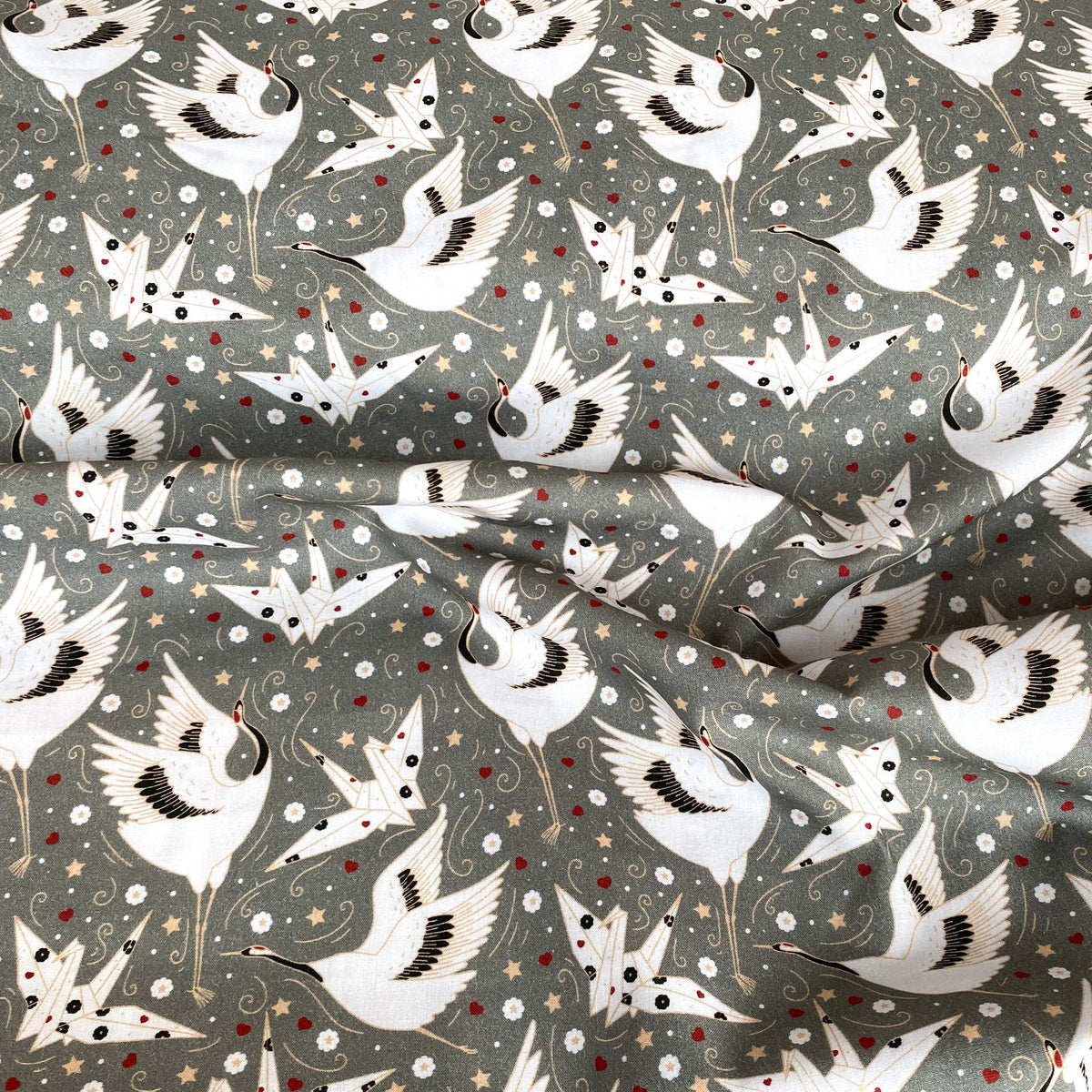 Christmas Origami birds grey 100% cotton fabric, 149cm wide sold per 1/2 metre OEKO-TEX