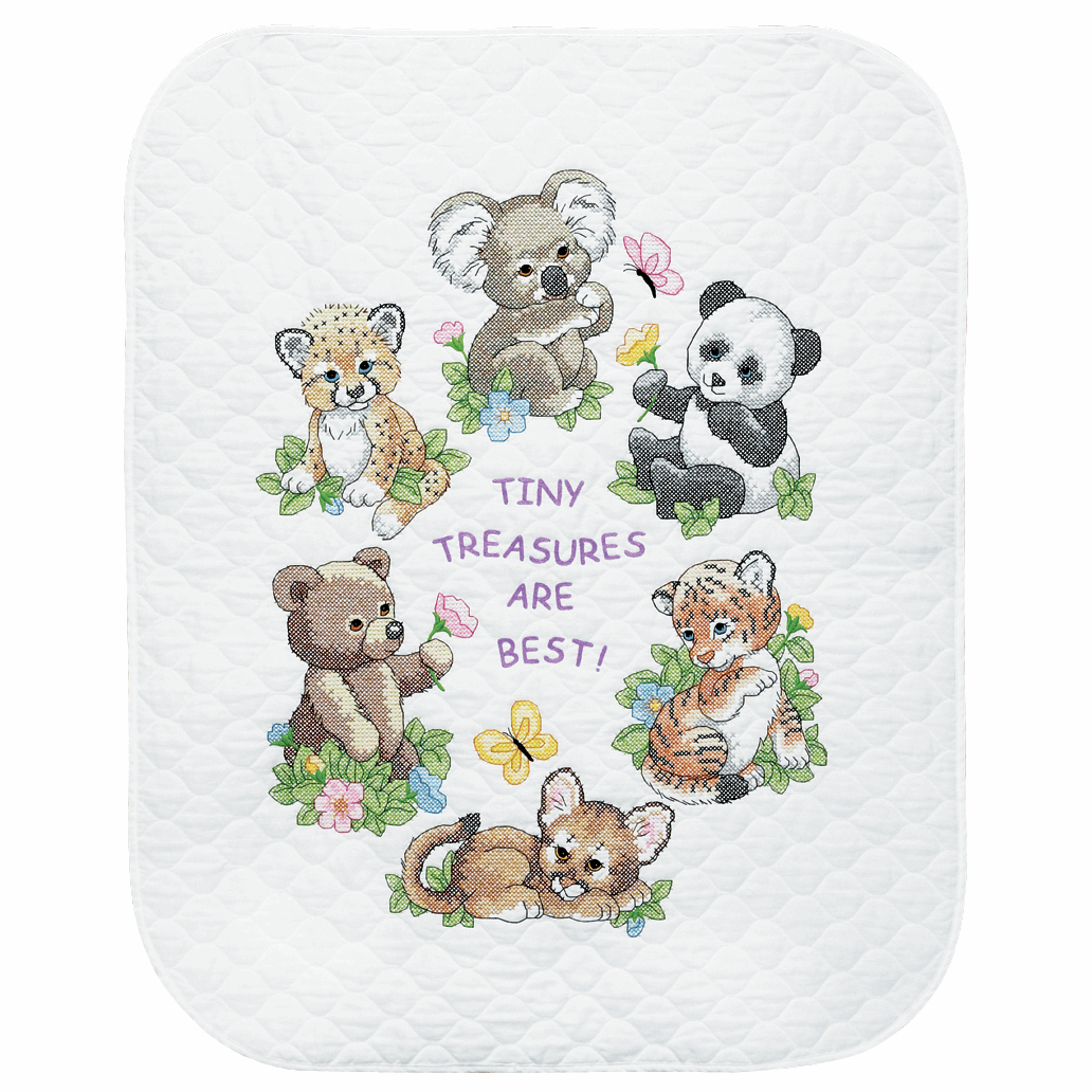 Stamped Cross Stitch Quilt kit featuring  Baby Animals