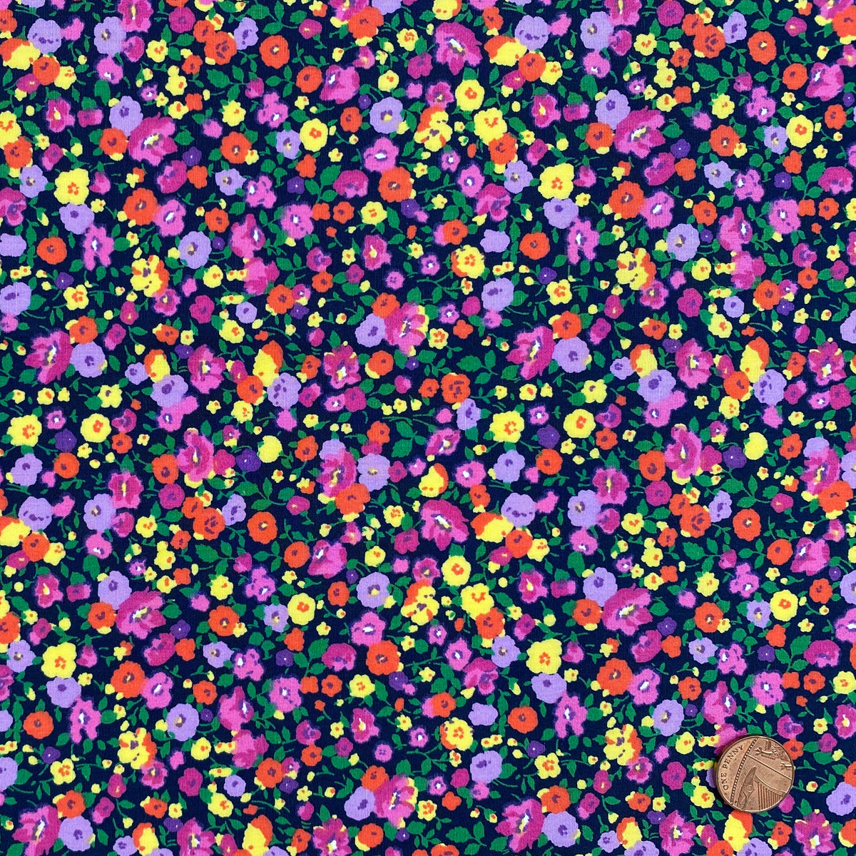 Path of Flowers Navy blue 100% cotton poplin fabric, sold per 1/2 metre, 112cm wide