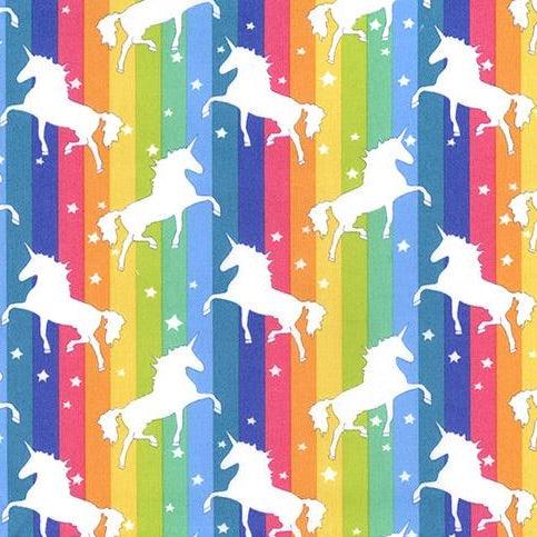 Bright Rainbow stripe unicorn design 100% cotton fabric sold per 1/2 metre, 112cm wide