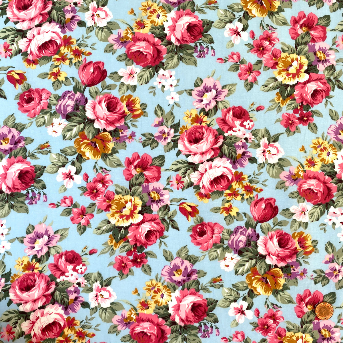 Sky & Pink Victoria Rose, Cotton Poplin Fabric per half metre, 112 cm wide