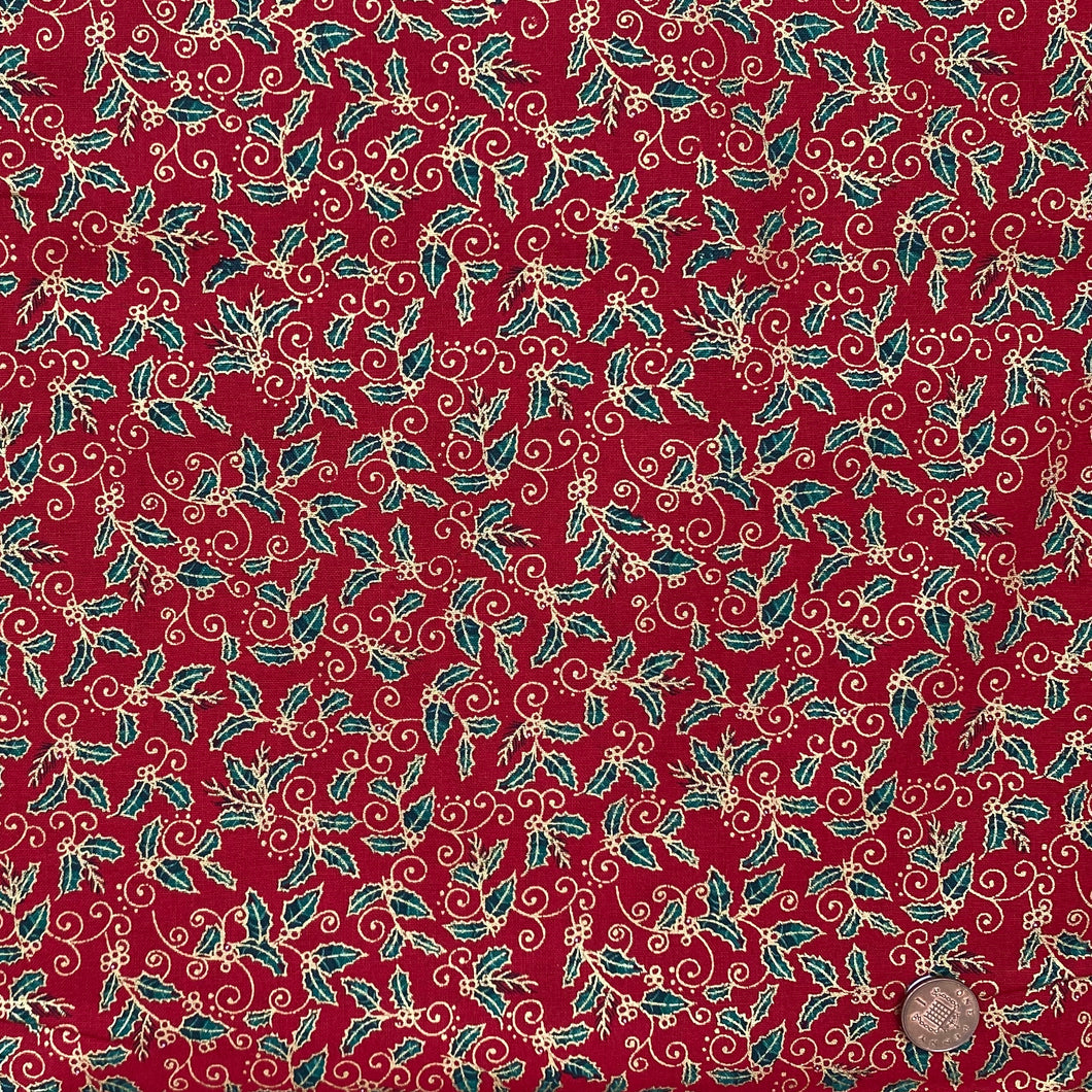 Traditional Holly Red & gold, 100% Cotton, sold per 1/2 metre, 112cm wide