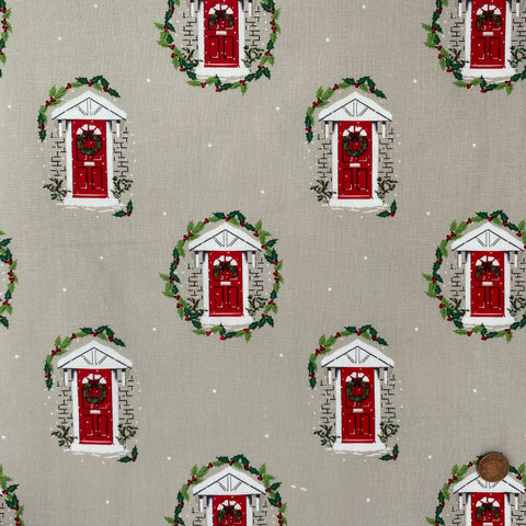 Traditional Christmas Red Doors 100% Cotton fabric, sold per 1/2 metre, 112cm wide
