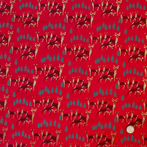 Red Grazing Christmas deer fabric, 100% Cotton, sold per 1/2 metre 112cm wide
