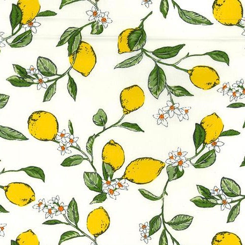 Lemons White 100% cotton fabric, 100% cotton, per 1/2 metre
