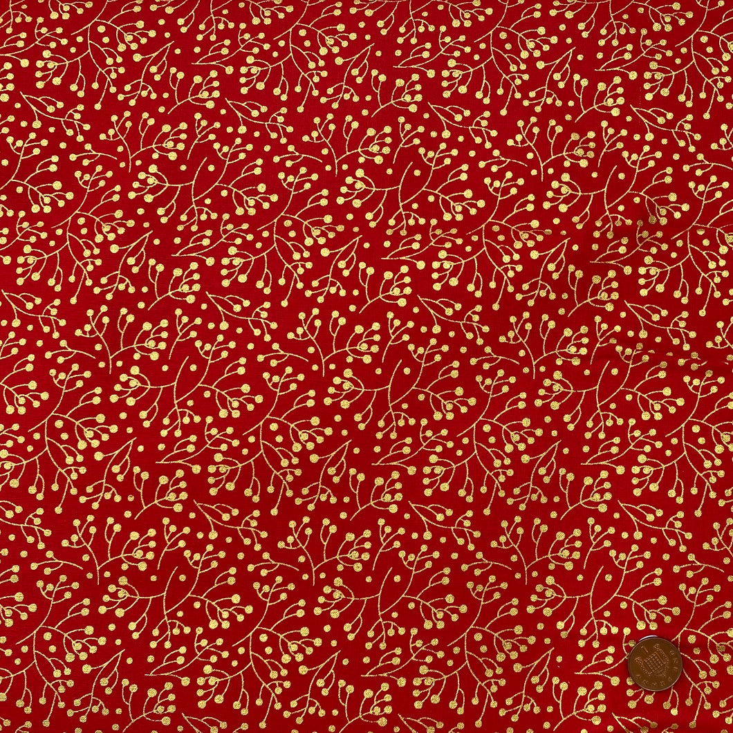 Traditional Berries red & gold, 100% Cotton, sold per 1/2 metre, 112cm wide