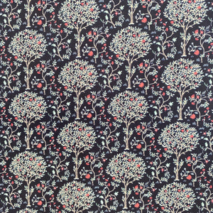 "Black Mulberry Tree  100% cotton lawn  fabric sold per half metre 54"" wide"