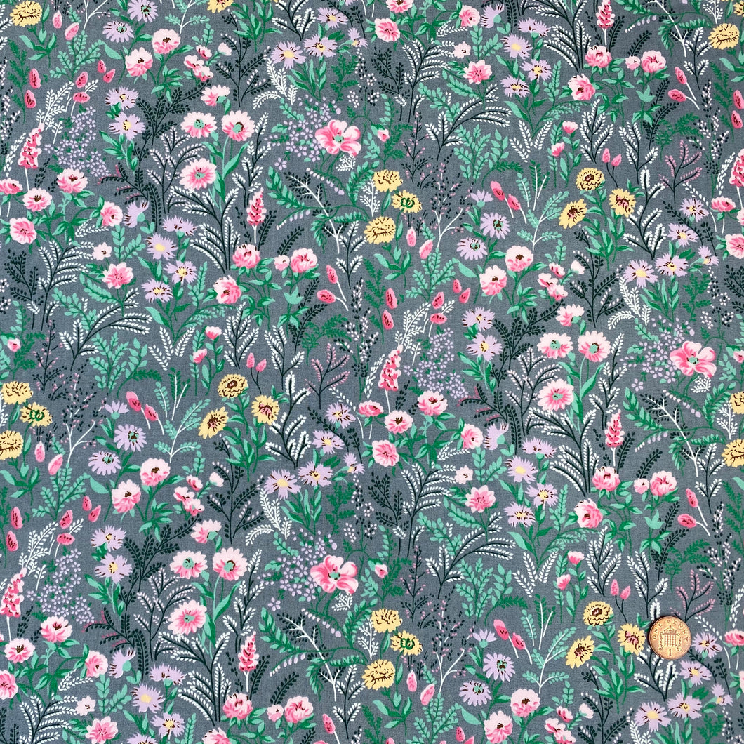 Forest flowers grey & pink 100% cotton poplin fabric, sold per 1/2 metre, 112cm wide