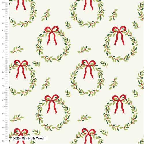 Traditional Christmas Holly Wreath 100% Cotton fabric, sold per 1/2 metre, 112cm wide