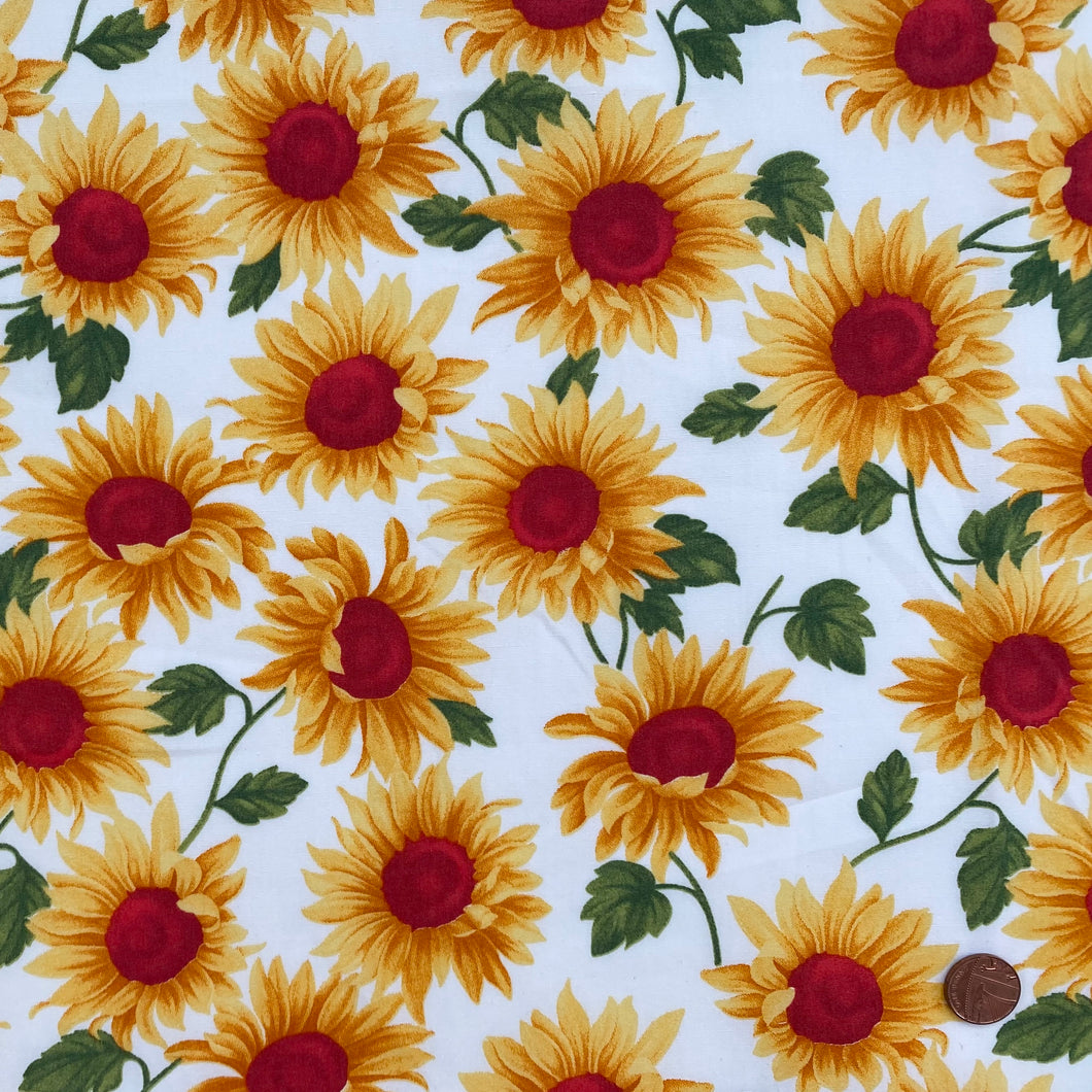 Sunflower Ivory floral design 100% cotton poplin fabric, sold per 1/2 metre, 112cm wide