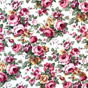 Victoria Rose Ivory fabric, 100% cotton poplin floral fabric sold per half metre ~