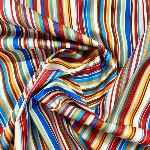 Funky striped  100% Cotton Fabric,  green, browns & blues sold per half metre, 112cm wide