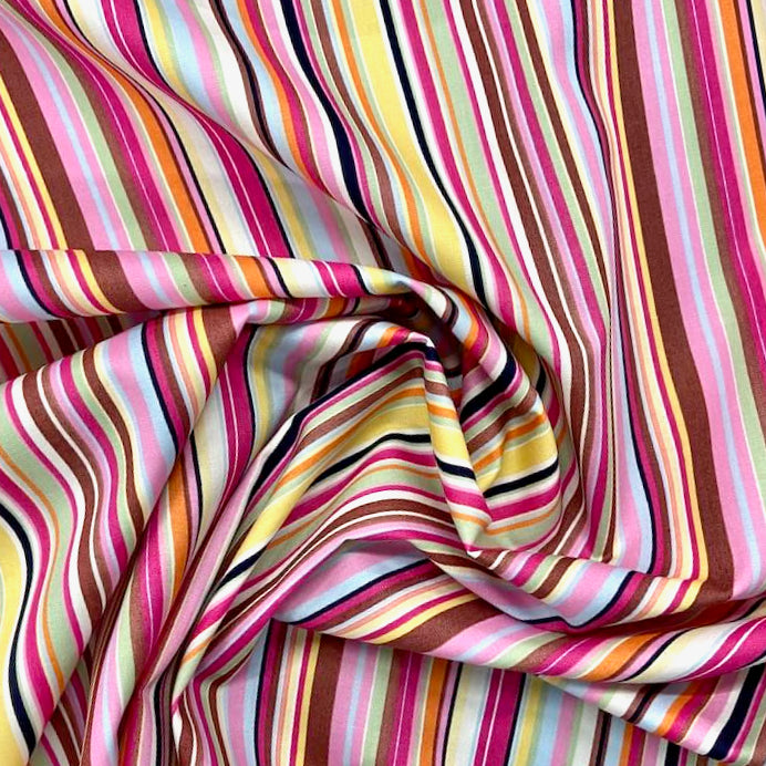 Funky striped  100% Cotton Fabric,  pinks, blues & lemon, sold per half metre, 112cm wide