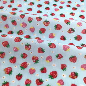 Pale Blue Summer Strawberries Polycotton Fabric Per 1/2 Metre 112cm Wide