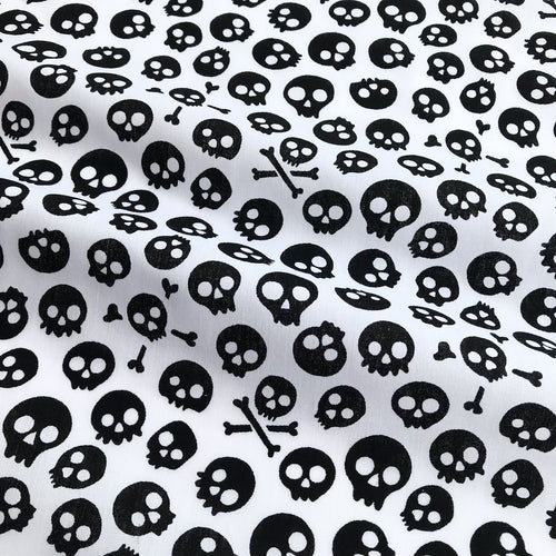 White with Black Skull Face Fabric Polycotton Per 1/2 Metre 112cm Wide