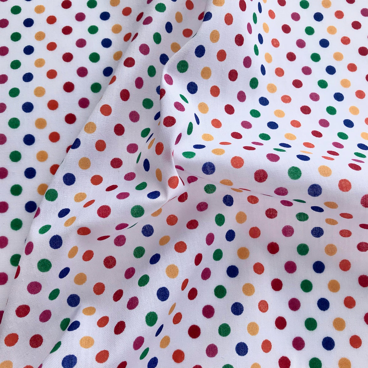 Primary Coloured 5mm Spot Polycotton Fabric Per 1/2 Metre 112cm Wide