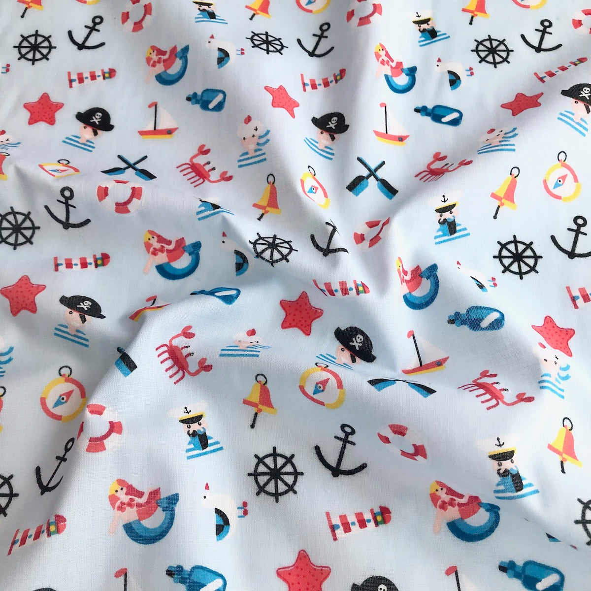 Pale Blue Pirates and Mermaid Fabric Polycotton Per 1/2 Metre 112cm Wide