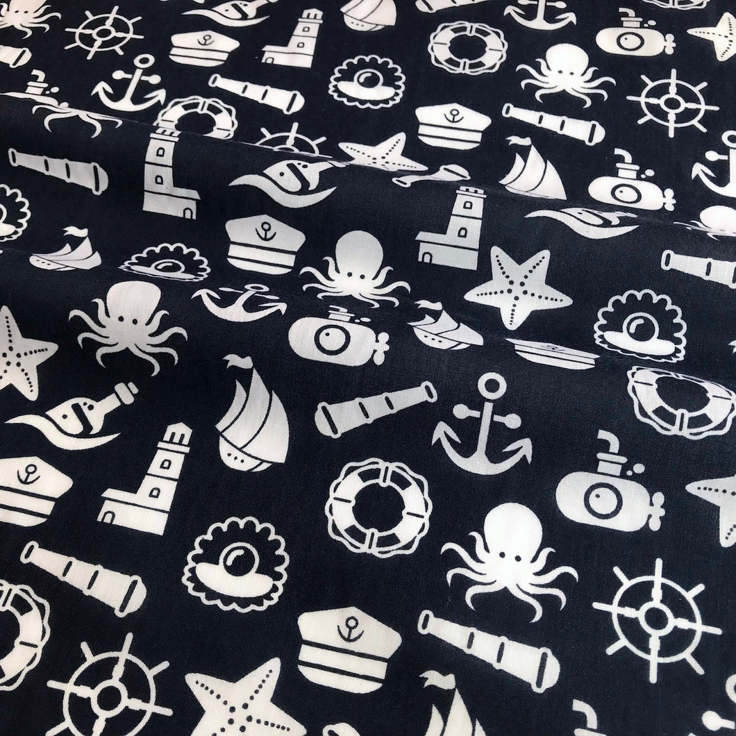 Navy Nautical Octopus and Submarine Polycotton Fabric Per 1/2 Metre 112cm Wide
