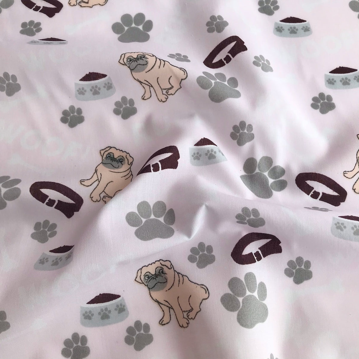 Pale Pink Woof Pug Fabric Polycotton Per 1/2 Metre 112cm Wide