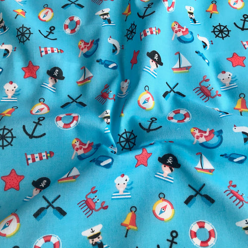 Turquoise Pirates and Mermaid Fabric Polycotton Per 1/2 Metre 112cm Wide