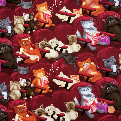 Cinema Cats 100% Premium Cotton by Timeless Treasures Per 1/2 Metre