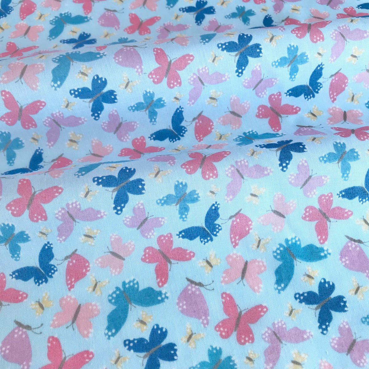 Pale Blue & Pink Butterflies Fabric Polycotton Per 1/2 Metre 112cm Wide