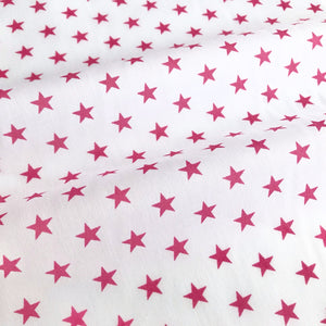 White & Cerise Star Fabric Polycotton Per 1/2 Metre 112cm Wide